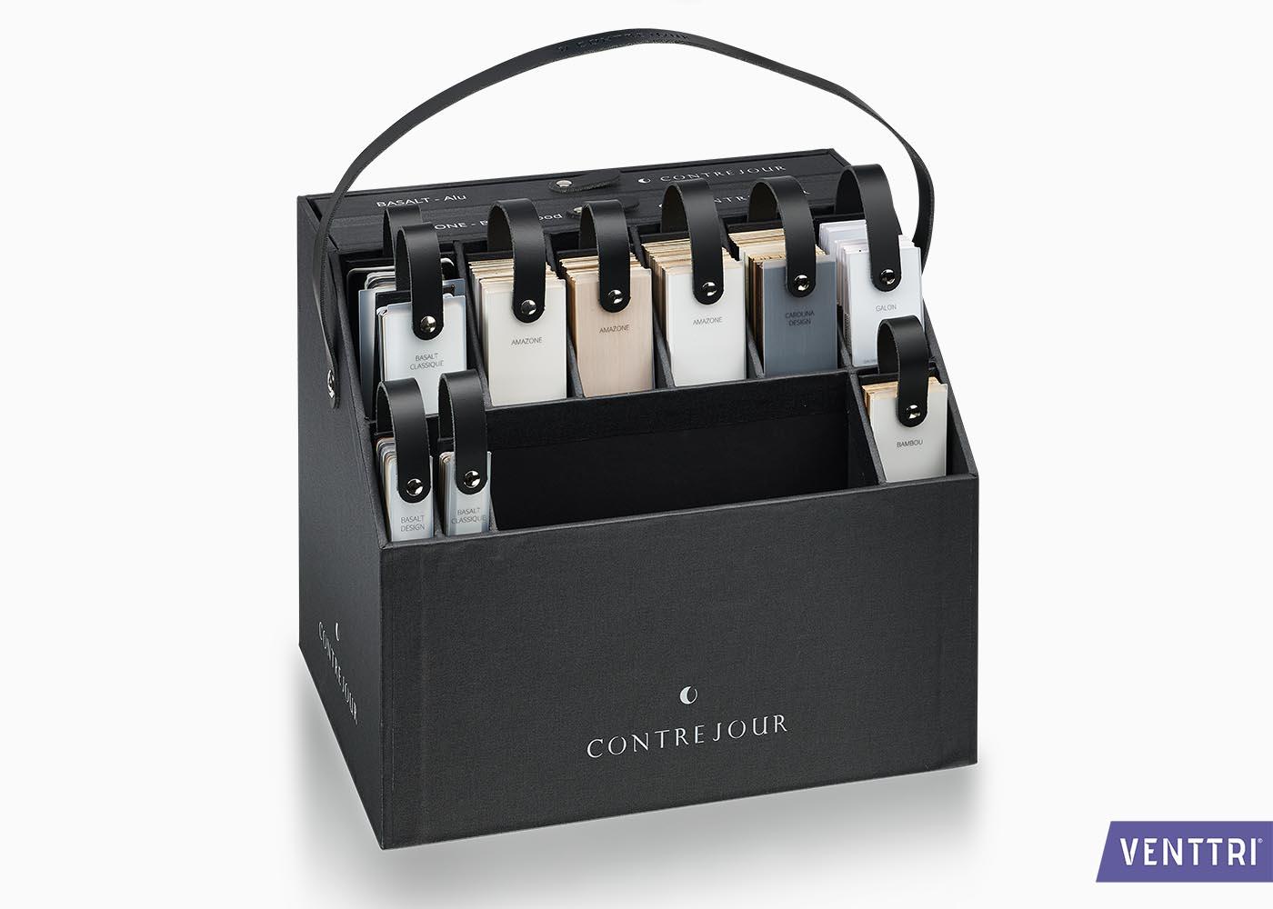 luxe presentatiebox met leren draagband contrejour